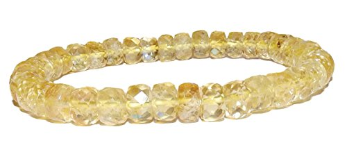 8mm X 5mm Citrine Faceted Rondelle Bracelet 01 Cash Flow Solar Plexus Emotion Intuition Enhancer (Gift Box)) (6.5)