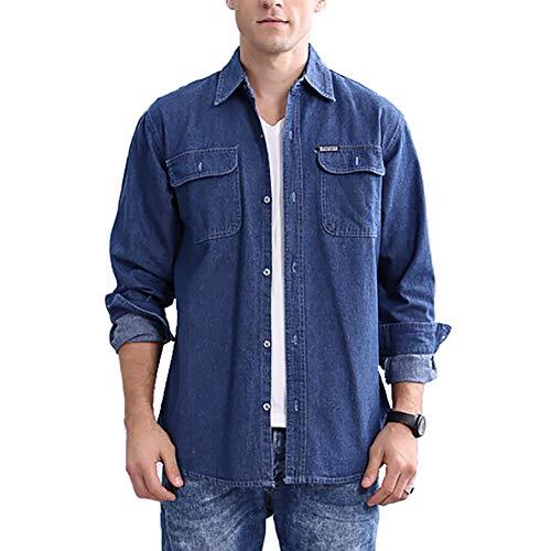 JEKAOYI Mens Denim Shirts Long Sleeve Casual Button Down Cotton, Navy Blue, Large
