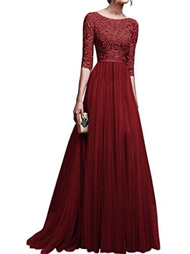 KAIDUN 4 Damen 3 Elegant Arm Abendkleider Burgundy Lange Brautjungfernkleid AS7BwAF