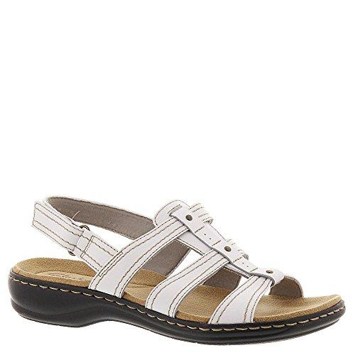 Clarks Leisa Daisy Womens White Leather Sandal 9-MEDIUM