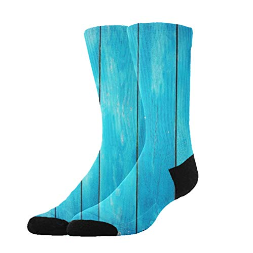 WONDERMAKE Sea Blue Old Wooden Oak Plank Striped Woods Stockings Comfy Breathable Hiking Socks Classics Compression Socks Great Gift for Unisex Adults Teens ()