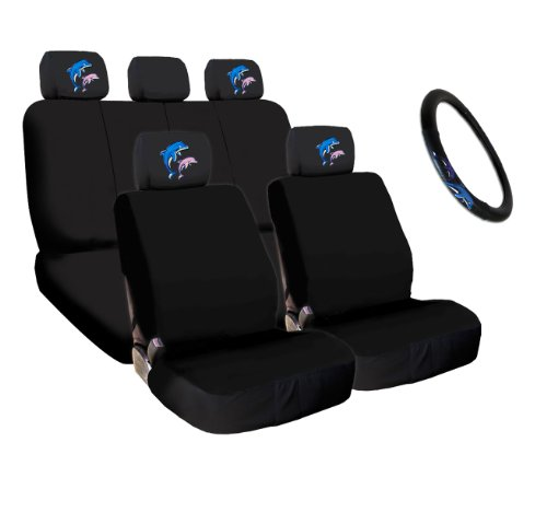 Yupbizauto 4X Dolphin Logo Accessories Headrest w/Black Cloth Car Seat Covers and Steering Wheel Cover (Toyota Dolphin)