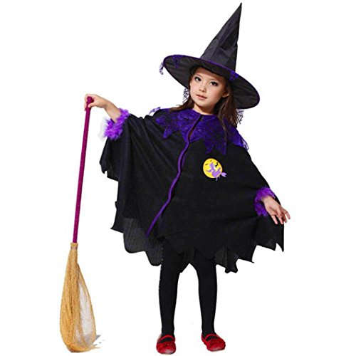 [Halloween Costume,AOJIAN Toddler Kids Girls Dress Party Cloak+Hat Outfit (4T, Black)] (Chubby Girl Costume Ideas)