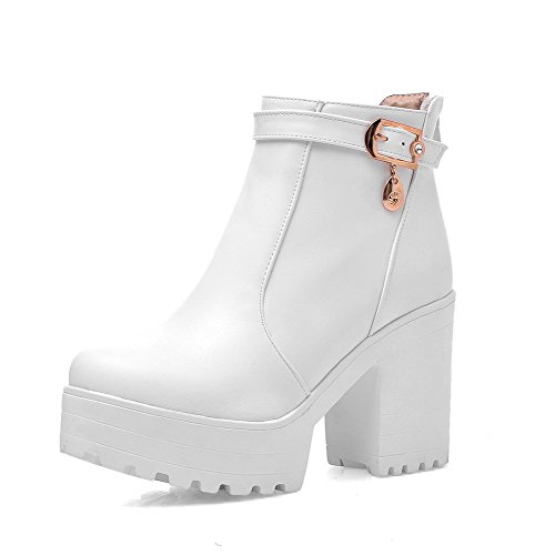 Women's Solid PU Boots with Chunky Heels and Slipping Sole