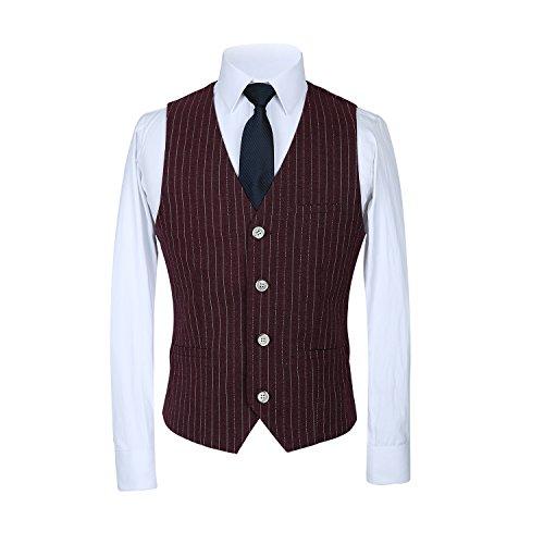 Pants Wine MOGU Vest s Suit Slim Piece Blazer Red Dress Casual Suits Men Fit Pinstripe 3 4Ug4xFwBq