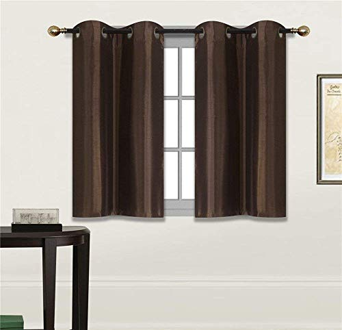 Fancy Linen 2 Panel Faux Silk Blackout Curtain Set Solid Dark Brown with Grommet Top Room Darkening Short Tier Drapes for Kitchen, Bathroom or Any Small Window New (Brown Silk Curtains)