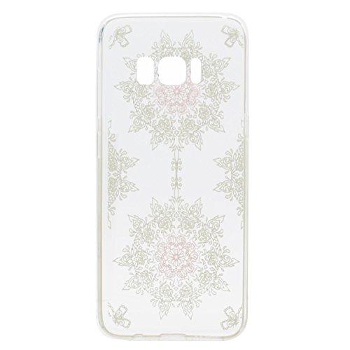 Funda Carcasa Transparente Silicona para Samsung Galaxy S8[con Gratis Pantalla Protector],KaseHome Único Patrón de Colores Diseño Cristal Claro Ultra Delgado Suave Durable Caucho Parachoque Alta Resis flor blanca