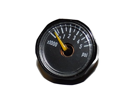 Paintball Psi Gauge (5000 PSI Gauge for Paintball Air Tank by Captain O-Ring (5k Gauge Black, Compatible with 3k and 4.5k Tanks))