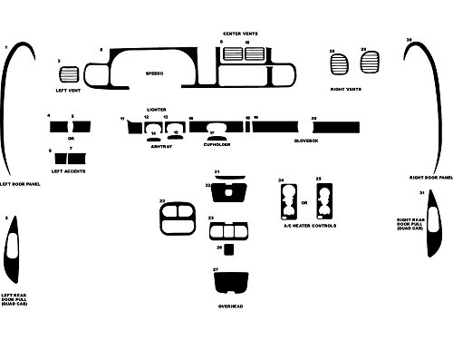 Rdash Dash Kit Decal Trim for Dodge Ram (1500) 1998-2001 / (1500 / 2500) 1998-2002- Aluminum (Brushed Gunmetal) -
