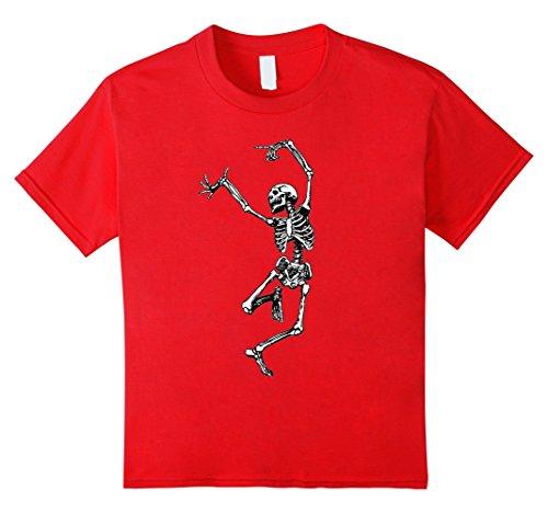 Dance Hall Girl Costume (Kids Skeleton Halloween Tshirt - Dancing Skeleton tShirt for Hall 4 Red)