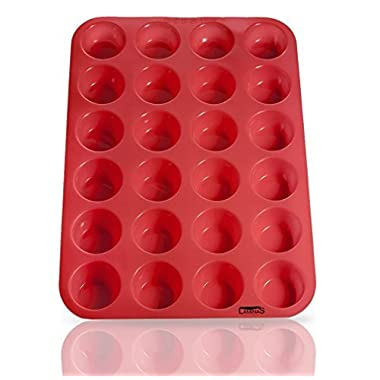 Laminas Silicone Mini Muffin Pan, 24 Cup Premium Cupcakes Pan Shapes, Non-stick, Bpa-free Food Grade Silicon Mold Material with Heat Resistant up to 450° F! Microwave & Dishwasher Safe, Non Toxic Muffin-tray