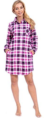 Patricia Women's Cute Cotton Flannel Button Down Long Sleepshirt (L, Pink Plaid)