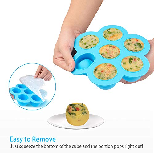 PRAMOO Silicone Egg Bites Molds and Steamer Rack Trivet with Handles for Instant Pot Accessories, 3pcs/set for 6qt & 8qt Electric Pressure Cooker by PRAMOO (Image #2)