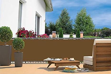 empasa - Biombo Exterior para balcón con Ojales + Cuerda, 600 x 90 cm, marrón: Amazon.es: Jardín