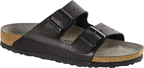 Birkenstock Women's Arizona Sandal Washed Metallic Antique Black Leather Size 38 N EU