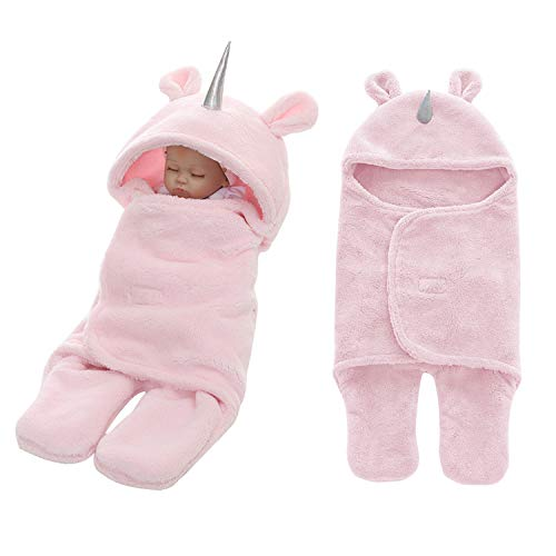 Newborn Babies Blankets Cute Unicorn Plush Swaddle Blankets Infnats Baby Girl Gifts Warm Clothes Baby for 0-6 Months Pink