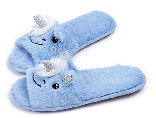 Unicorn Non Blue Winter Slippers Cartoon TQGOLD Womens Cute Slip Foam Girls Animal Indoor Memory Warm Soft Cozy Fleece qgH4R
