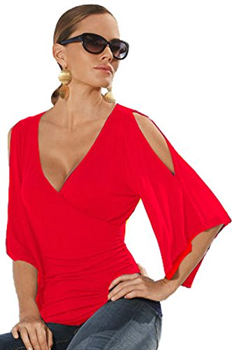 rap Ruched Cold Shoulder Flare Sleeve Tops and Tees Shirts PRIME Red L 12 14 (Red Prime T-shirt)