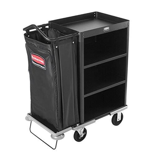 Rubbermaid-Commercial-Executive-Series-FG9T6100BLA-Deluxe-Housekeeping-Service-Cart-3-Shelves-Steel-Black