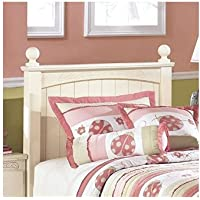 Ashley Furniture Signature Design - Cottage Retreat Youth Poster Bedset - Headboard, Footboard, & Rails - Twin Size Bed - Cream Cottage