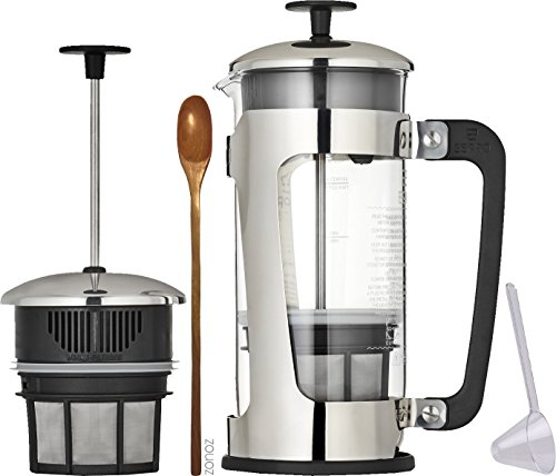 Espro Coffee Press P5-32 oz, Glass Carafe and Stainless Steel Cage, Zonoz Wooden Stirring Spoon & Zonoz One-Tablespoon Plastic Clever Scoop (Bundle)