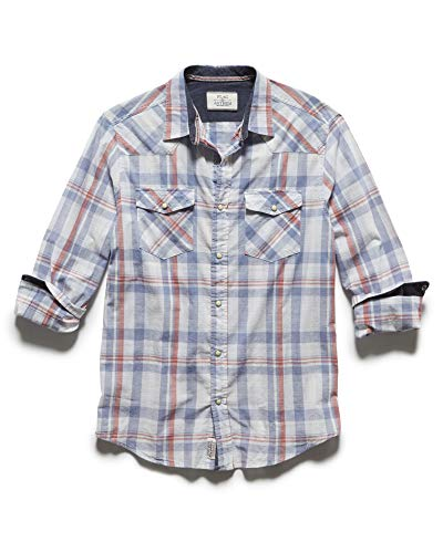 Flag & Anthem Men's Long Sleeve Double Pocket Plaid Western Snap Shirt, M, Reeder White