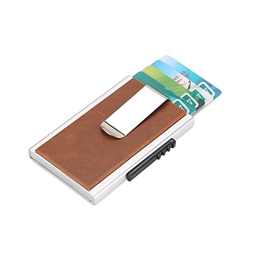 Crazy Horse PU Slim Simple Auto Popup RFID Module Credit Cardet Wallet - Crazy Horse Apricot