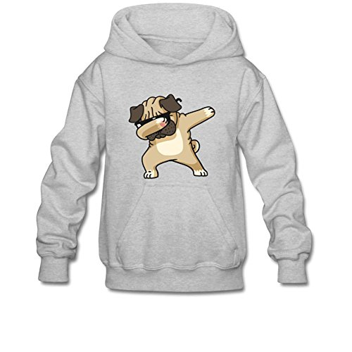 iCoup Aliensee Youth Cool Dabbing Dog Puppy Hoodie Sweatshirt Suitable for 10-15yr Old M Gray ()