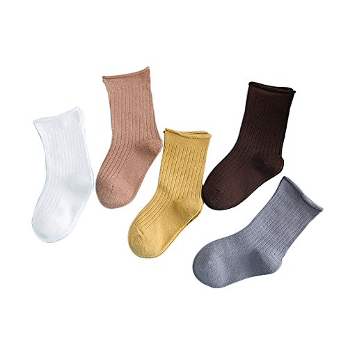 FQIAO Children Cotton Socks 5 Pack Middle Tube Pure Color Unisex Spring Summer Child Sock 3-5 Years
