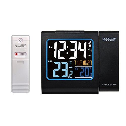 La Crosse Technology WT552-BLA - Radiodespertador (pantalla LCD, mando a distancia, 433 MHz), negro