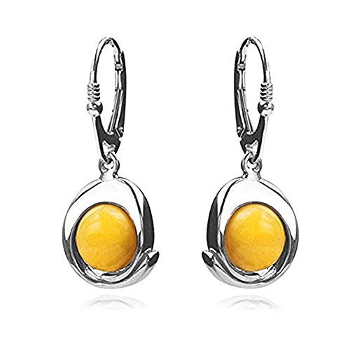 Sterling Silver Butterscotch Amber Round Dangle Leverback - Earrings Butterscotch Amber