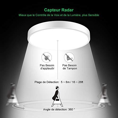 plafonnier led detecteur de mouvement radar, 18W 1800lumen 4000K blanc neutre, 220V 12LEDs, led plafonnier moderne, Lampe de plafond, led ronde plafonnier pour garage couloir balcon