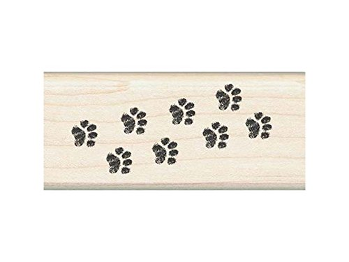 Rubber Stamp With Wood Handle, Classics Kitty Cat Paw Border
