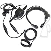 EmBest Professional Tactique Military Police FBI Flexible Throat Mic Microphone Covert Acoustic Tube Earpiece Headset Ajustable Volume for Midland GMRS/FRS GXT/LXT 2 Two Way Radio 2-pin