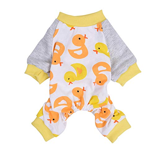 Scheppend Lightweight Dog Pajamas Cotton Pet Body Suit Soft Jammies 4 Legged Dog pjs Cute Puppy Onesie Cozy Cat Jumpsuit | Duck