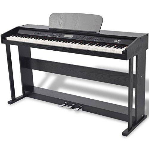vidaXL 88-Key Portable Digital Piano Keyboard with Stand+Adapter+3-Pedal Board Black from vidaXL