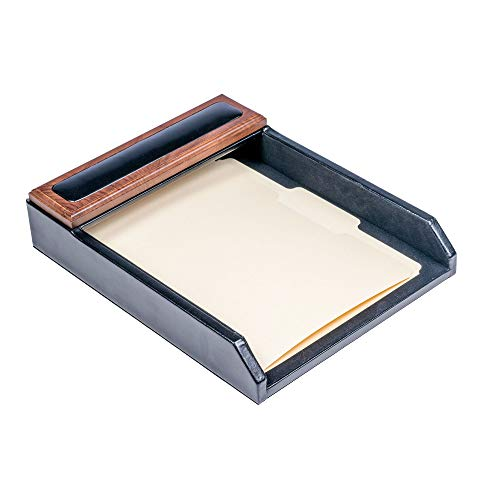 Dacasso Walnut and Leather Letter Tray (Tray Letter Walnut)