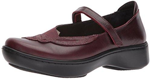 NAOT Women's Bluegill Mary Jane Flat, Bordeaux Violet Nubuck/Reptile Burgundy Leather, 36 Medium EU (5 US)