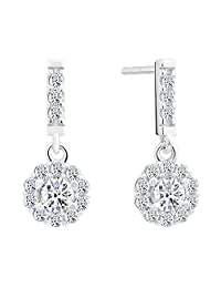 Small Sterling Silver Round CZ Halo Dangling Stud Earrings