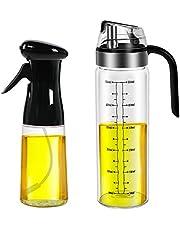 Olive Oil Sprayer for Cooking, Oil Spray Bottle Versatile Glass for Cooking, Baking, Roasting, Grilling Healthy Weight Loss(Black +Oil Dispenser)
