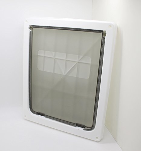 FixtureDisplays White Large ABS Pet Dog Door Safety Dual Entry 14.6x 11.8