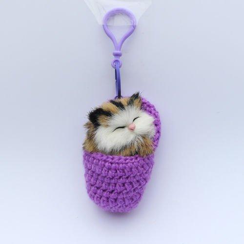 Knitting Kittens - New Cats Shoe Kittens Knitting Plush Toys Keychain Keyring Shoulder Handbay Dec purple