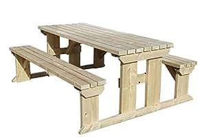Abies banco de mesa de picnic–6ft–Luz Verde o Marrón Rústico acabado–hecho a mano muebles al aire libre de madera tratada a presión
