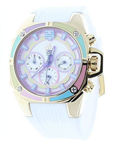 Best Technosport Women's Multicolor Watch Gold-Tone Case Swiss Multifunction Movement White Strap TS-100-S38G