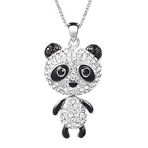 NEOGLORY Jewelry Platinum Plated Long Panda Pendant Sweater Necklace Fully Studded with Rhinestones 30″