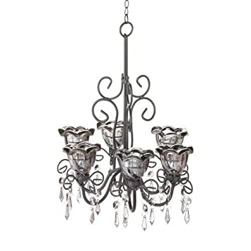 Amazon midnight blooms hanging candle chandelier with dangling midnight blooms hanging candle chandelier with dangling crystals mozeypictures Choice Image