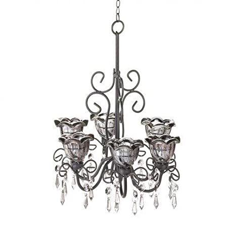 Amazon midnight blooms hanging candle chandelier with midnight blooms hanging candle chandelier with dangling crystals mozeypictures Images
