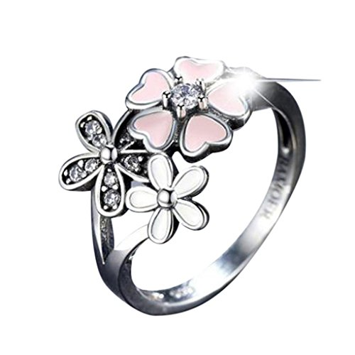 Nmch Clearance Rings, Women's Cherry Blossom Pink Enamel Floral Finger Ring Size 6-9 (Sliver, 6)