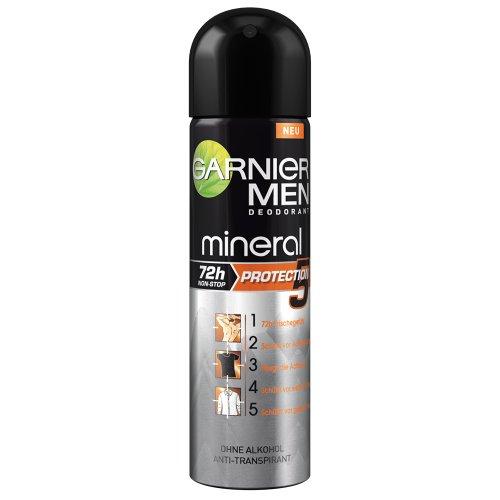 Garnier Men Deodorant Mineral Protection5 Haut + Kleidung Deospray Männer 72 h Non-Stop Protection / angereichert mit Mineralite (alkoholfrei), 6 x 150 ml