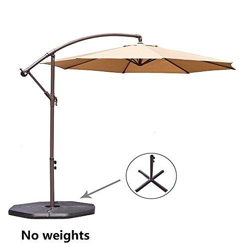 Le Papillon 10-ft Offset Hanging Patio Umbrella Aluminum Outdoor Cantilever Umbrella Crank Lift, Beige [New Generation Production] (Post Offset Umbrella)
